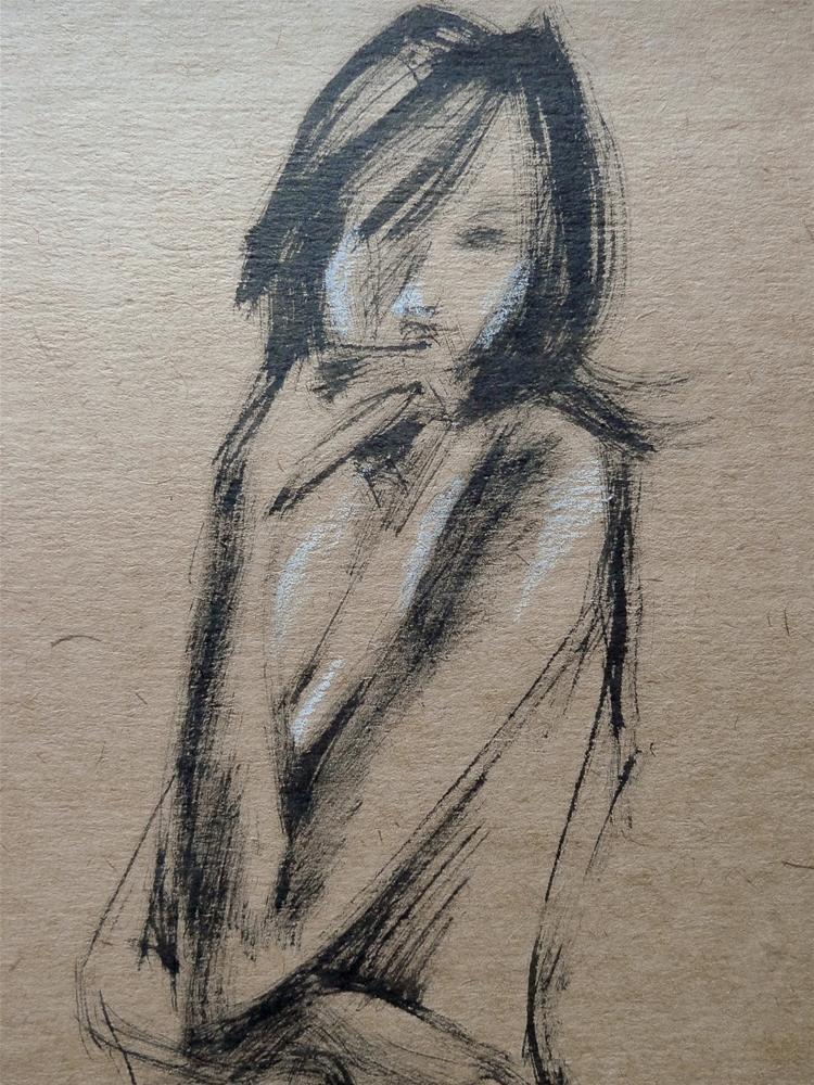 """Nude sitting"" original fine art by Elena Senina"