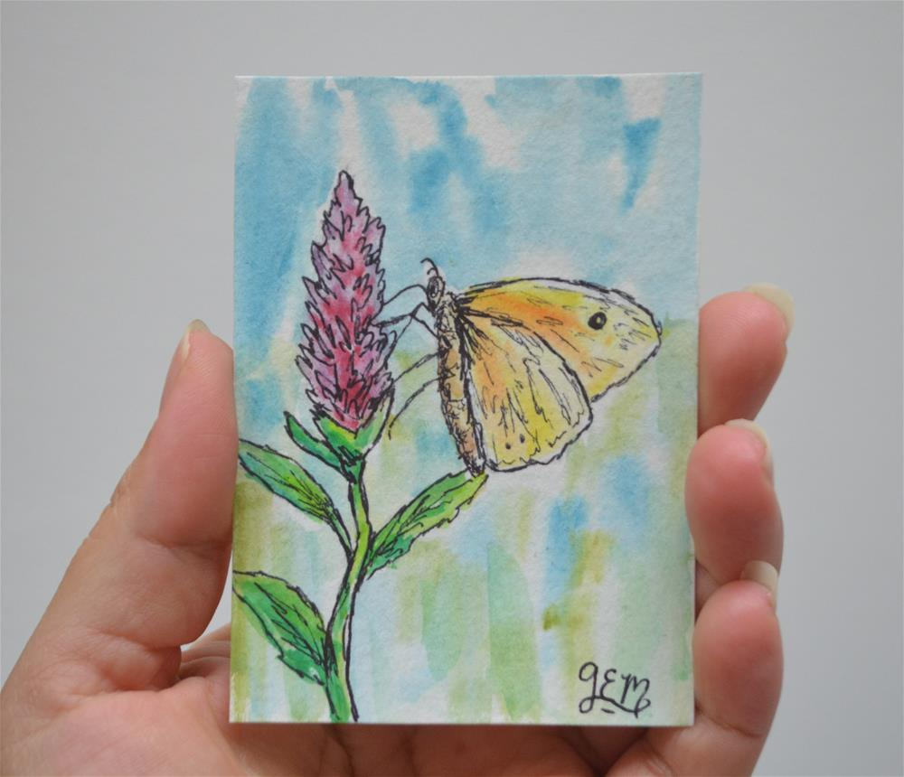 """Yellow Butterfly Watercolor ACEO"" original fine art by Gloria Ester"