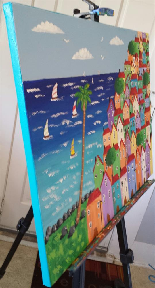 """""""Coastal Funky Houses"""" original fine art by Karleen Kareem"""