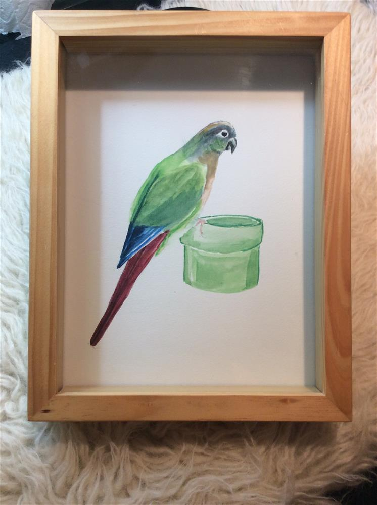 """Conure on cup"" original fine art by Jenny Kinberg"