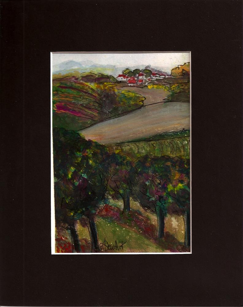 """""""5x7 Vineyard Landscape with free mat size is 8x10 SFA by Penny StewArt"""" original fine art by Penny Lee StewArt"""