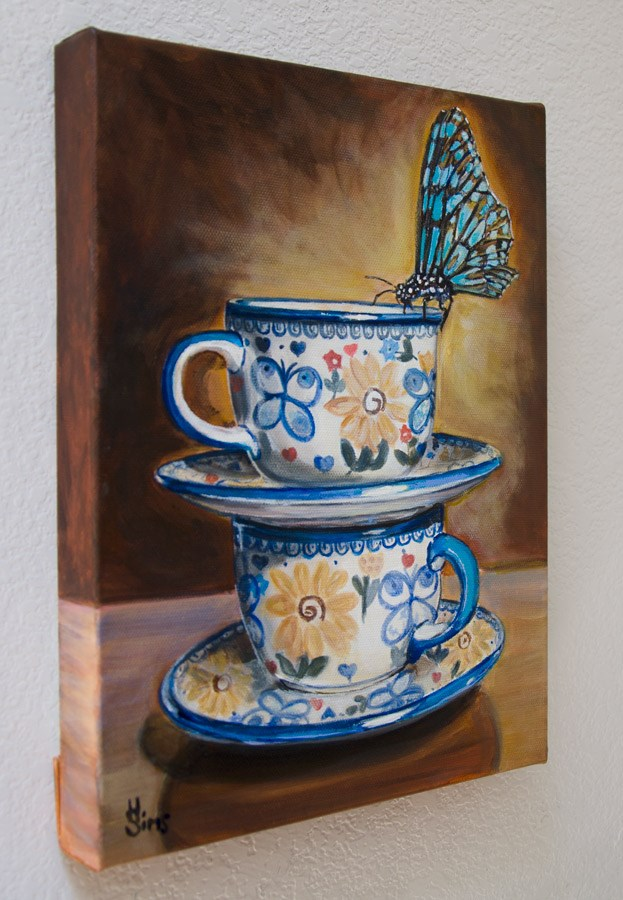 """Butterflies: Polish Pottery XCIV"" original fine art by Heather Sims"