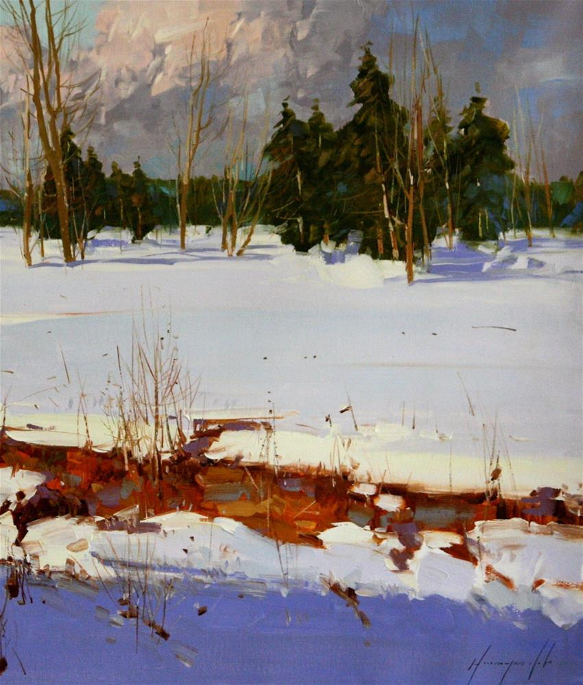 """SNOW COVERED MEADOW ORIGINAL OIL PAINTING LARGE SIZE LANDSCAPE PAINTING"" original fine art by V Y"
