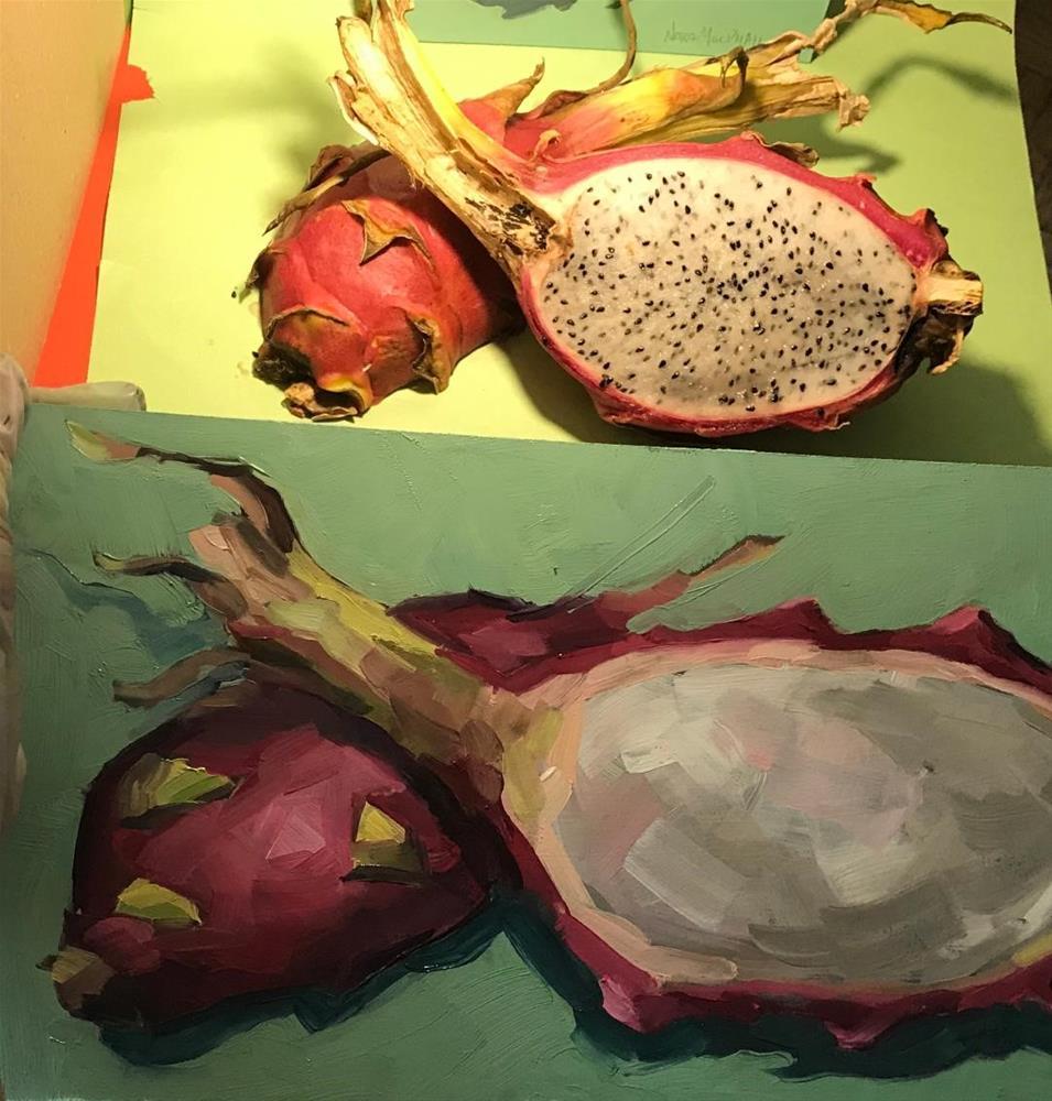 """Dragon Fruit Dots"" original fine art by Nora MacPhail"