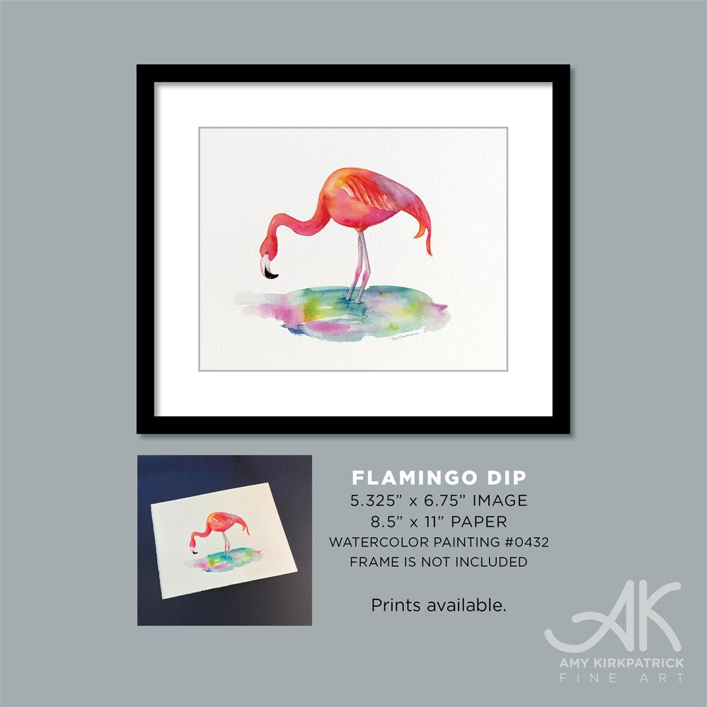 """FLAMINGO DIP #0432 (horizonal)"" original fine art by Amy Kirkpatrick"