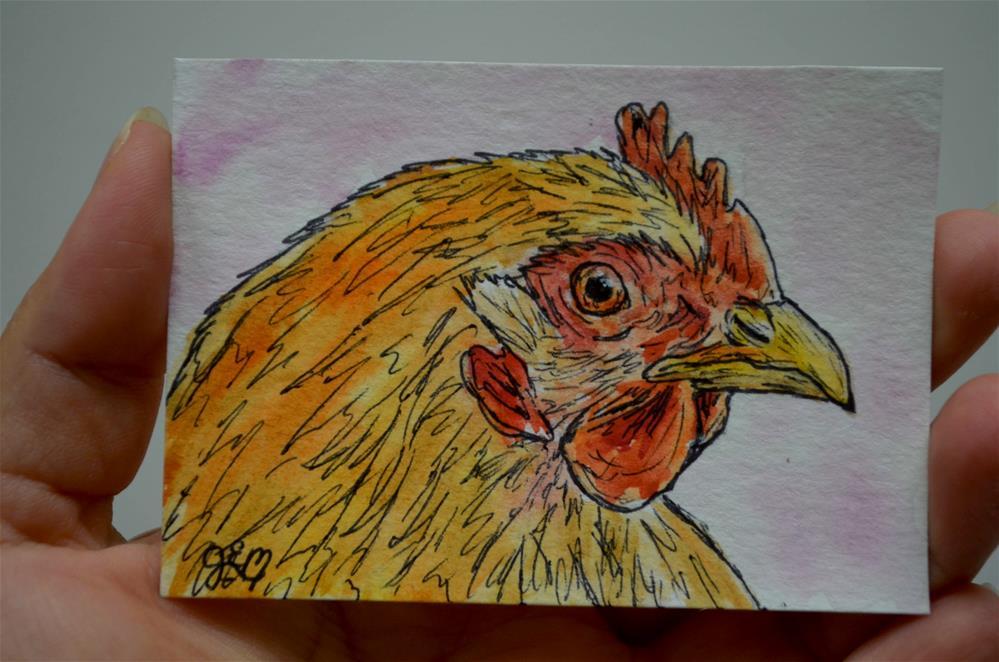 """""""Chicken Watercolor Aceo"""" original fine art by Gloria Ester"""
