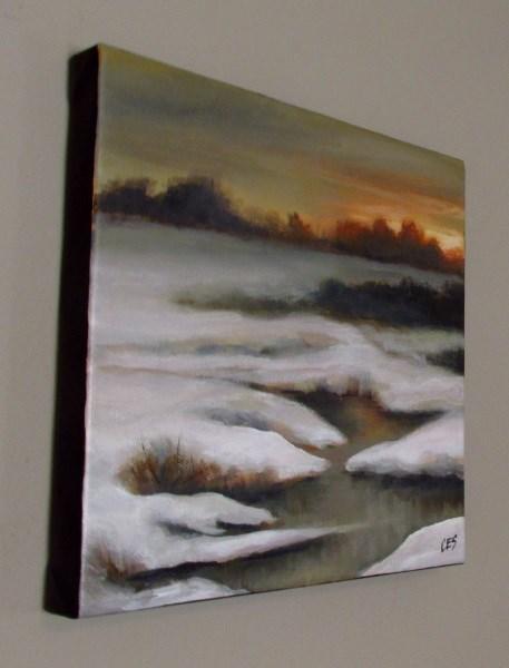 """Sunset Over Snowy Creek"" original fine art by ~ces~ Christine E. S. Code"