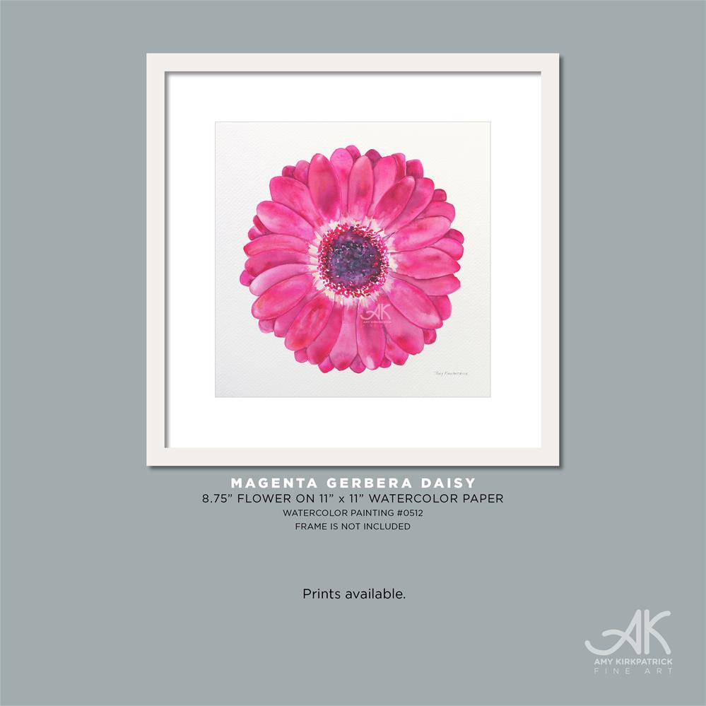 """MAGENTA GERBERA DAISY #512"" original fine art by Amy Kirkpatrick"