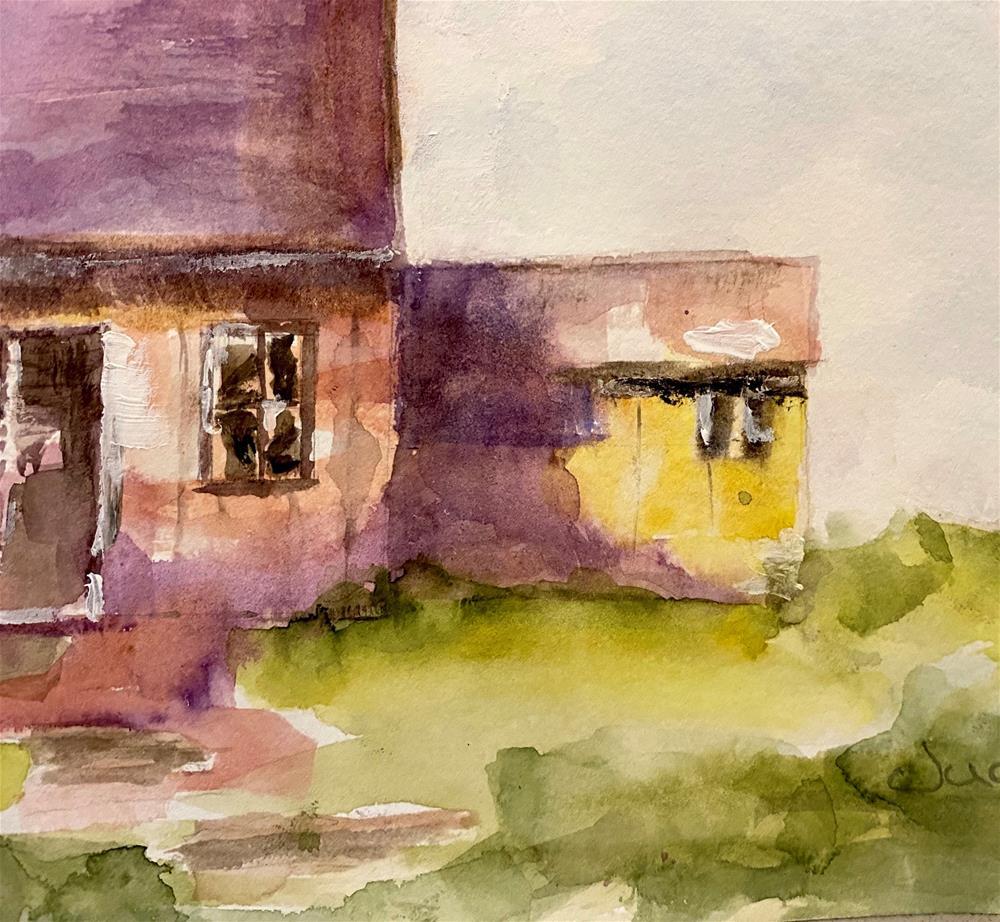 """RIVERSIDE CABIN"" original fine art by Judie Mulkey"