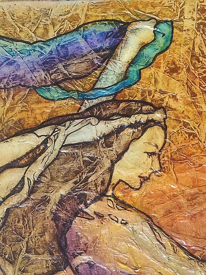 """""""Zen Inspired Gypsy Dance Watercolor on Tissue"""" original fine art by lynne french"""