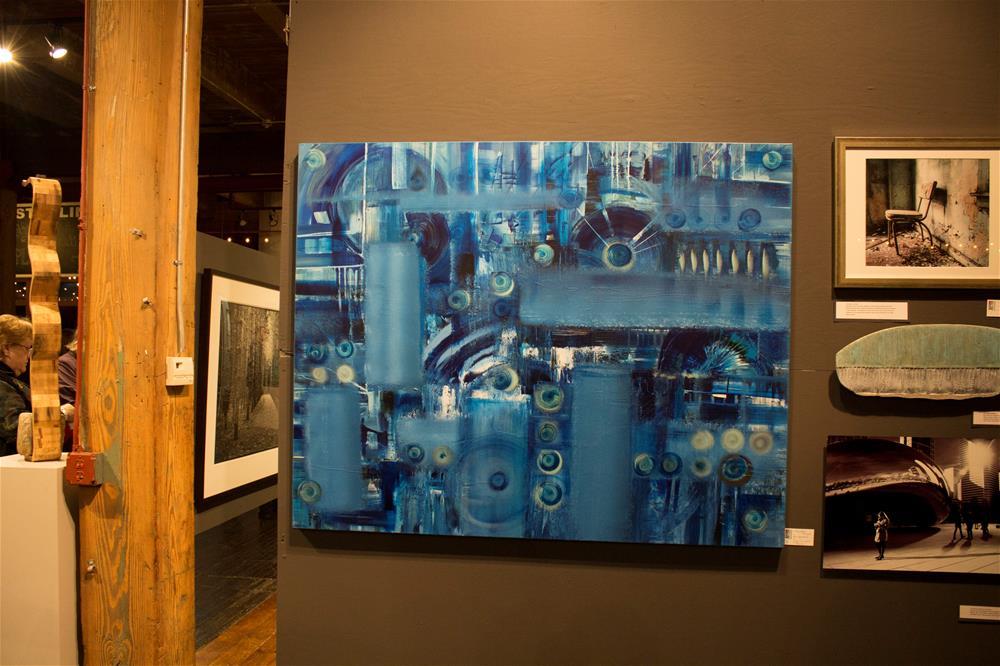 """Blue Engineering,original painting on canvas blue abstract"" original fine art by Khrystyna Kozyuk"