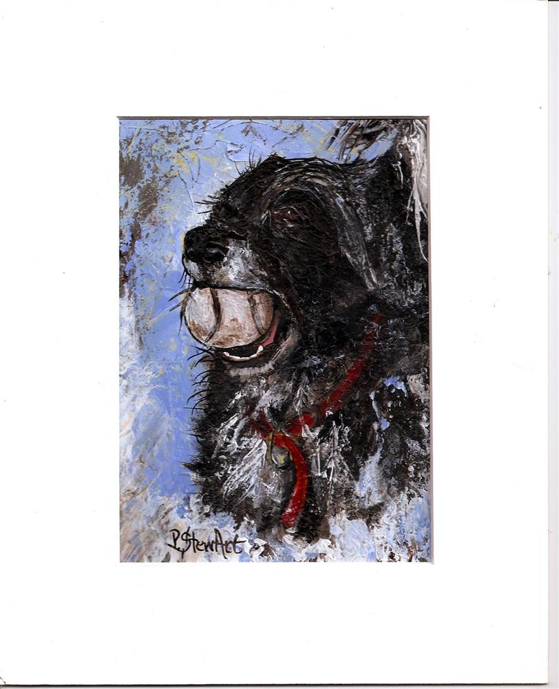 """5x7 Wet Dog with Ball, Acrylic with FREE mat, ready to Frame, Penny Lee StewArt"" original fine art by Penny Lee StewArt"