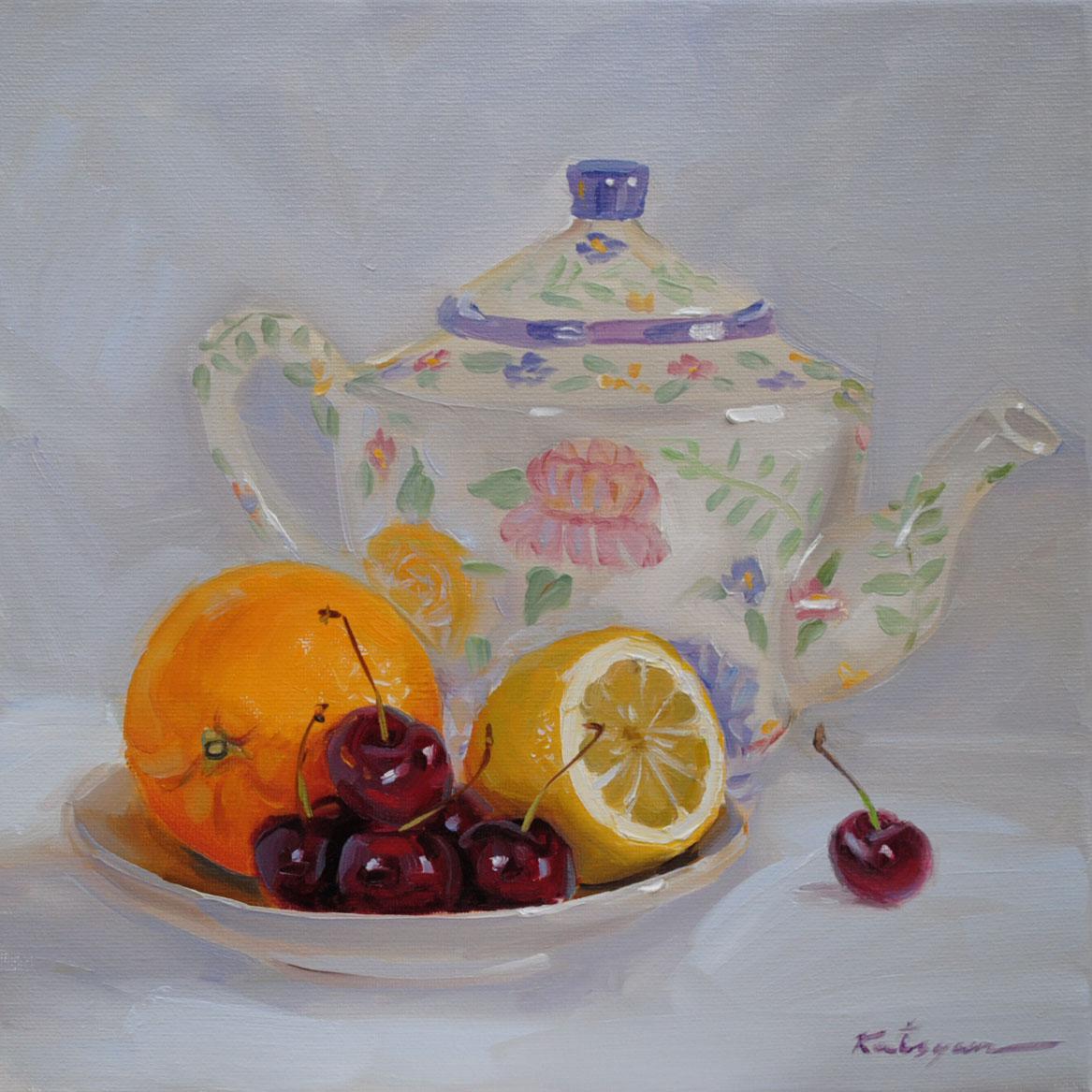 """""""Fruit & Teapot"""" original fine art by Elena Katsyura"""