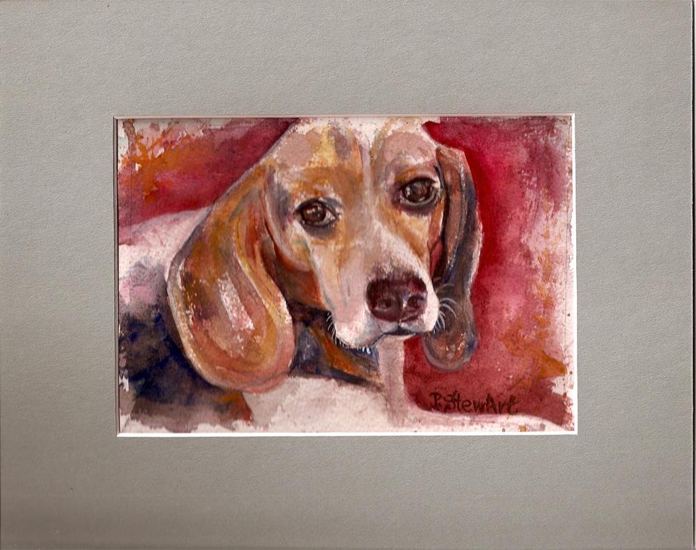 """""""4x7 Watercolor Dog Pet Portrait Beagle Brown Floppy Ears by Penny StewArt"""" original fine art by Penny Lee StewArt"""