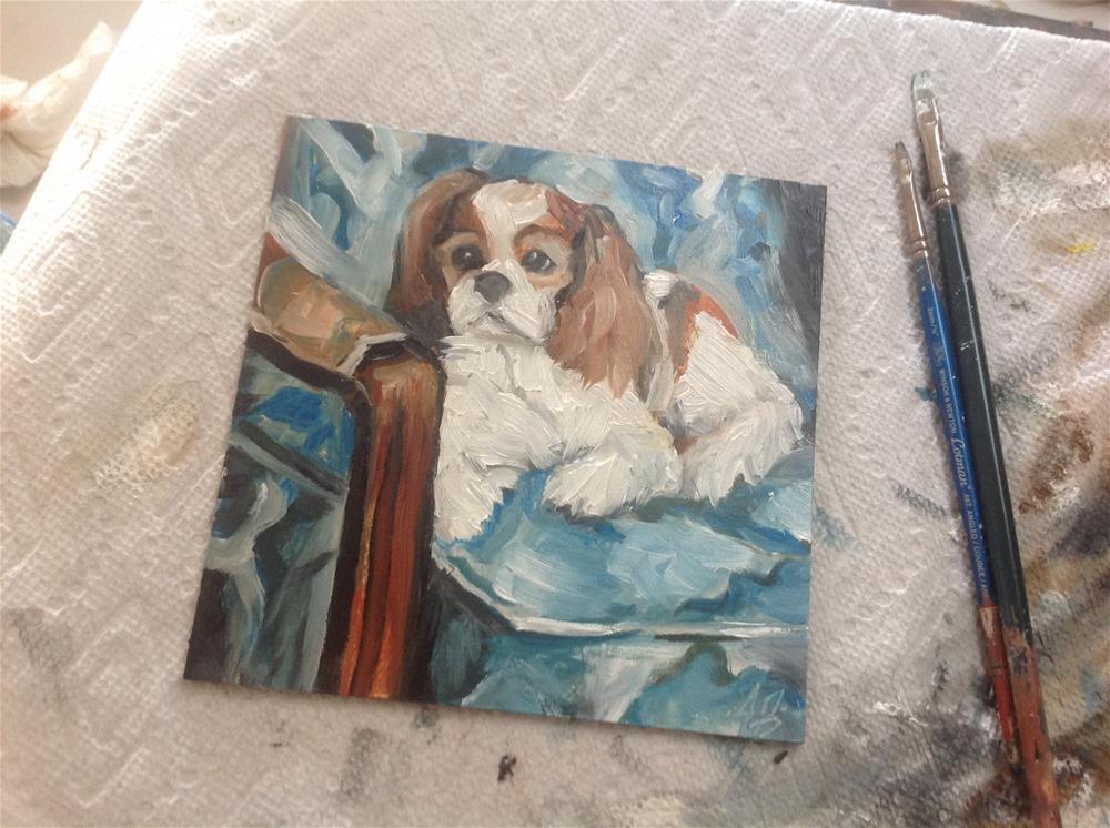 """Pup on Blue Print Chair"" original fine art by Annette Balesteri"