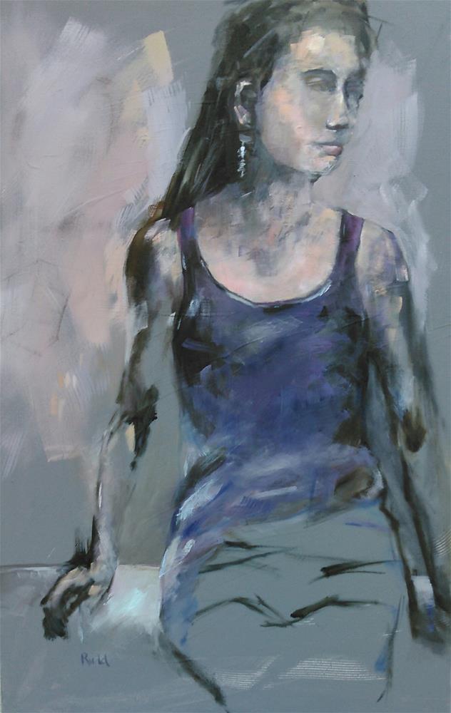 """Finished Portrait/Harley Girl"" original fine art by Ann Rudd"