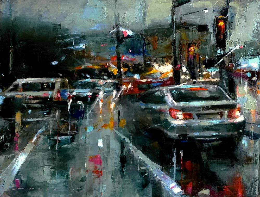 """One More Rainy Day"" original fine art by Angel Angelov"