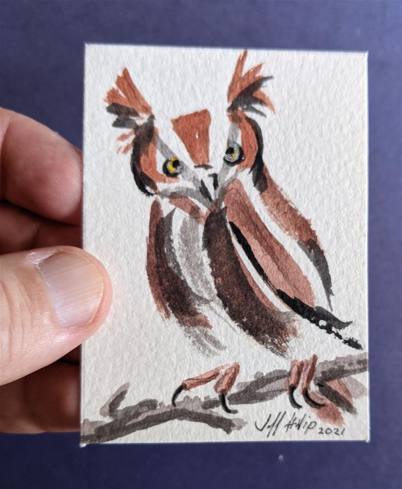 """ACEO Owl"" original fine art by Jeff Atnip"