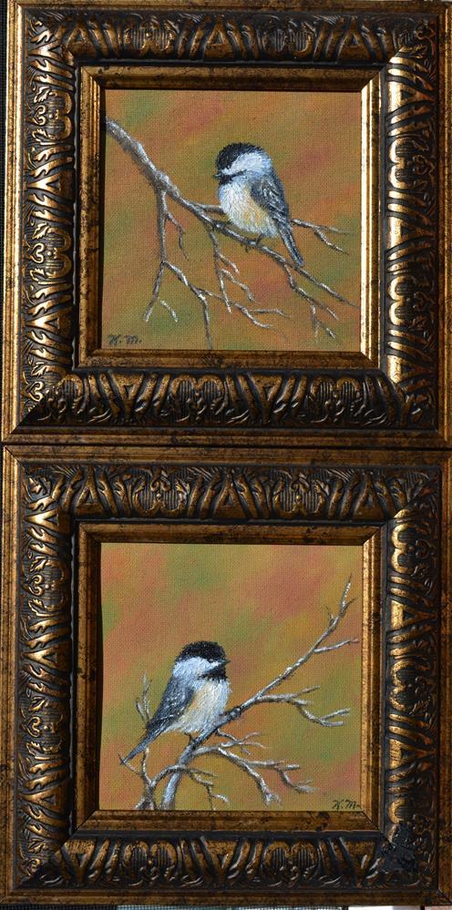 """Autumn Chickadees - Bird 2"" original fine art by Kathleen McDermott"