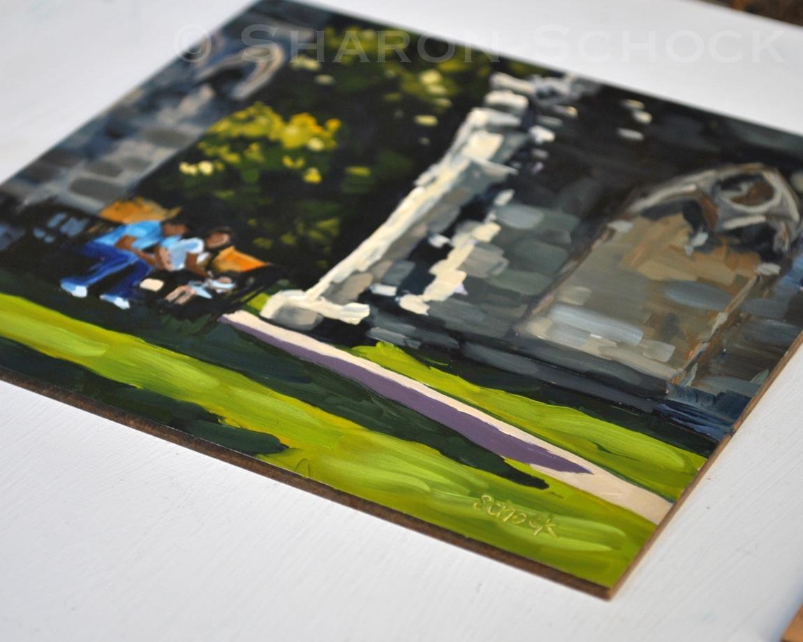 """""""Ruins in York - 6x6"""" original fine art by Sharon Schock"""