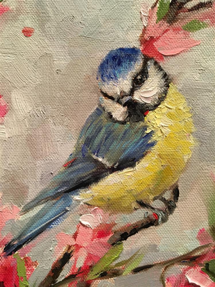 """""""Blue Tit & Cherry Blossoms"""" original fine art by Krista Eaton"""