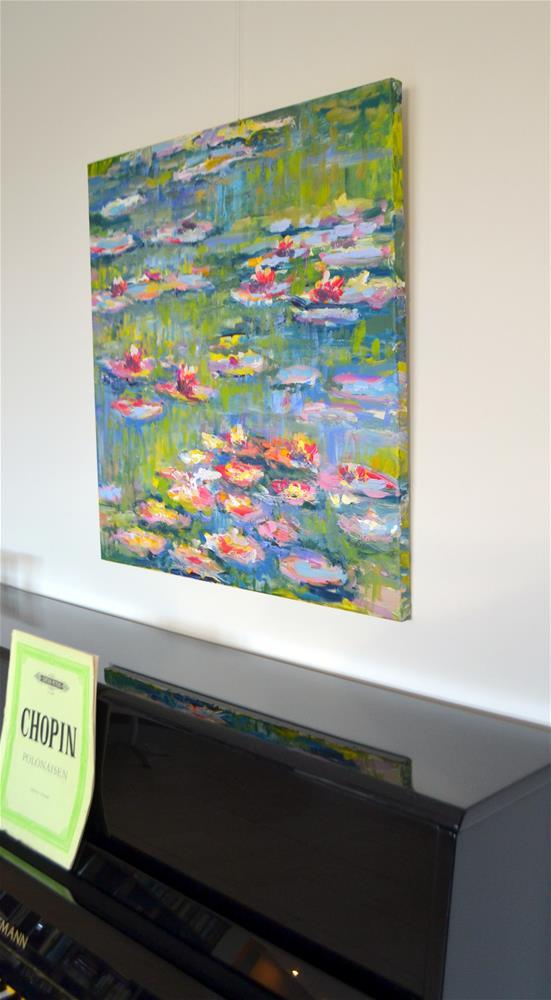 """""""Waterlilies in Monets garden"""" original fine art by Wim Van De Wege"""