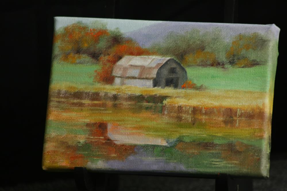"""Autumn Barn"" original fine art by Linda Eades Blackburn"