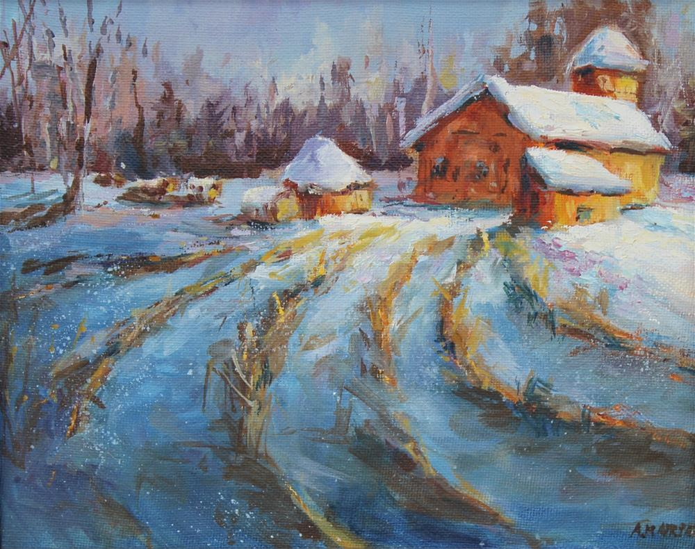 """Oil red barn winter landscape painting"" original fine art by Alice Harpel"