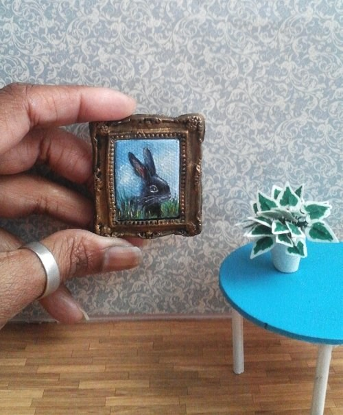 """1:6 Scale Black Bunny Rabbit Pet Portrait"" original fine art by Camille Morgan"