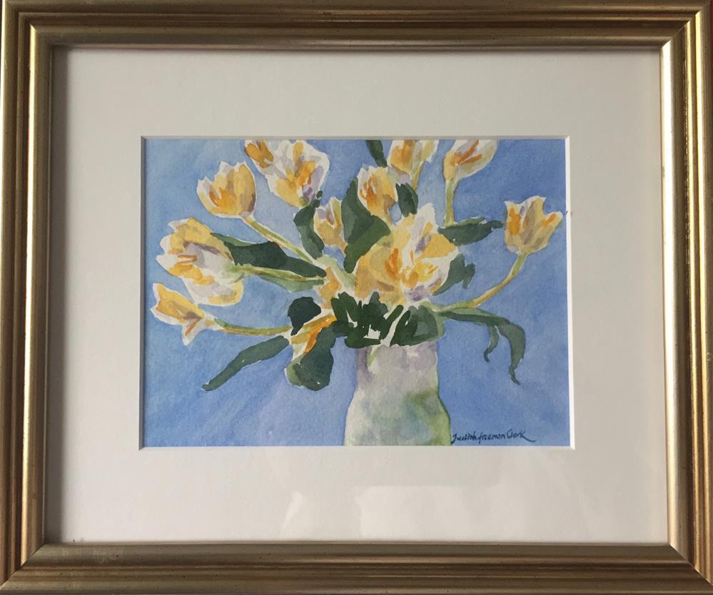 """Yellow Tulips, framed"" original fine art by Judith Freeman Clark"