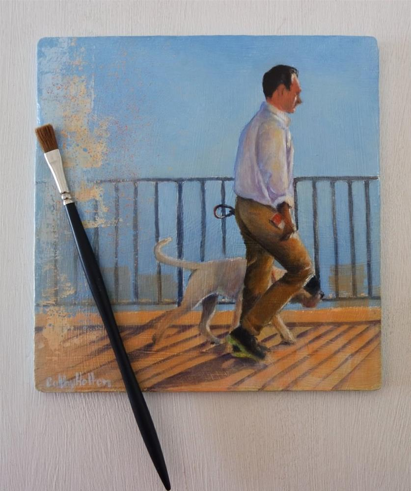 """""""Man and His Dog"""" original fine art by Cathy Holtom"""
