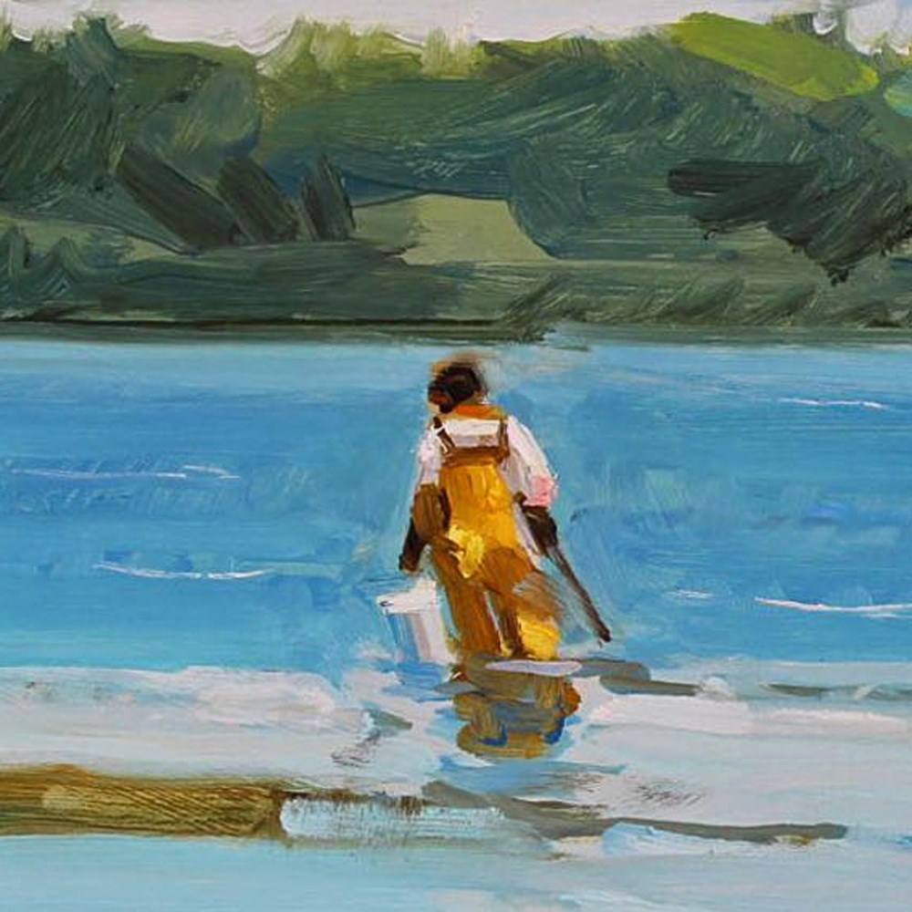 """Crabbing at Low Tide"" original fine art by Gretchen Hancock"