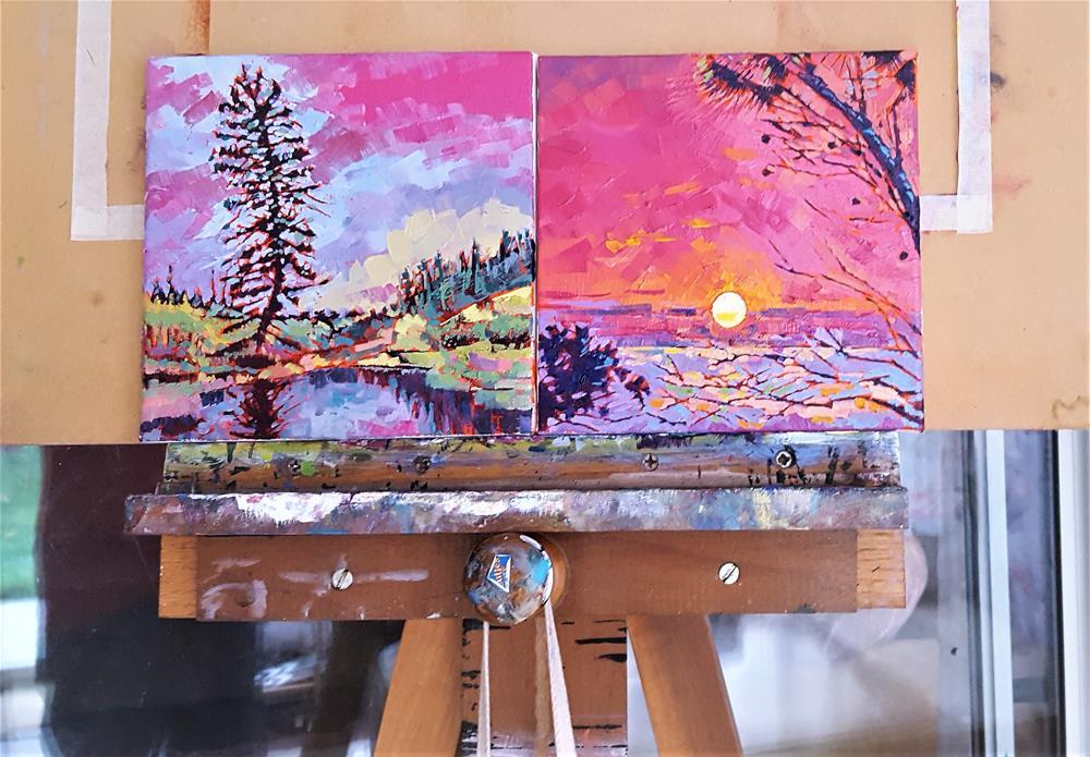 """Pink Sky Delight - Small Oil Painting"" original fine art by Bhavna Misra"
