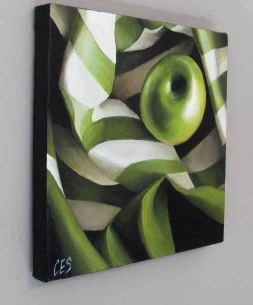 """Green Apple and Stripes"" original fine art by ~ces~ Christine E. S. Code"