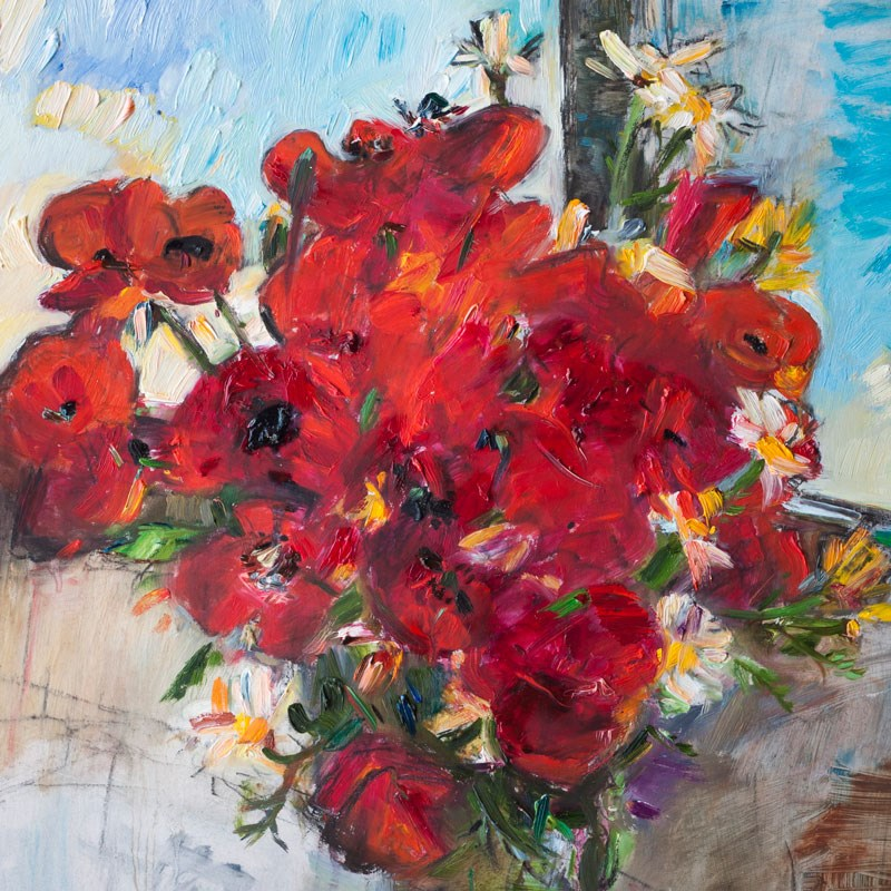 """""""Poppies and Daisies Flowers"""" original fine art by Anna Fine Art"""