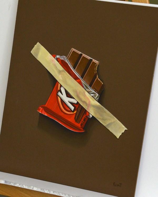 """Kit Kat Emergency Stash"" original fine art by Kim Testone"