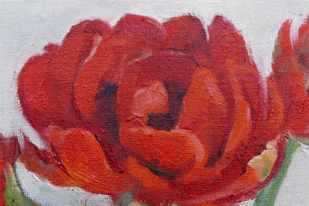 """Big Red Tulips in a Mason Jar"" original fine art by Darlene Young"