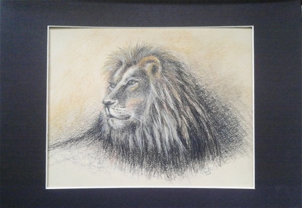"""Lion"" original fine art by Camille Morgan"
