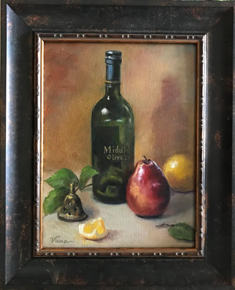 """Still Life with Bottle and Fruit"" original fine art by Vana Meyers"
