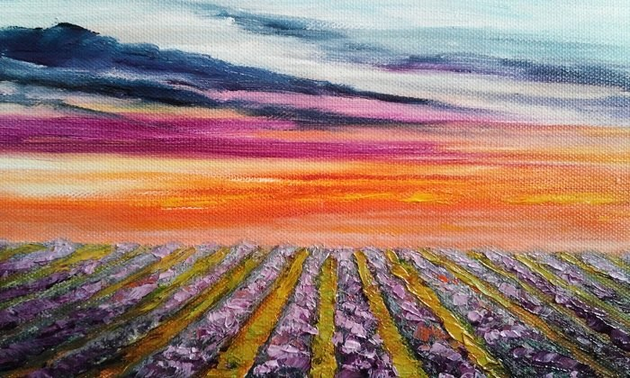 """Sunset over Lavender Fields"" original fine art by Camille Morgan"