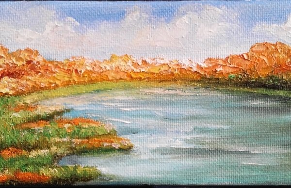 """Fall by the River"" original fine art by Camille Morgan"