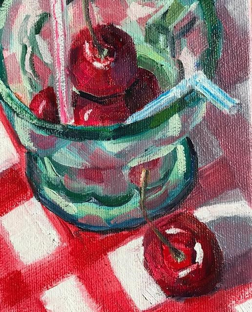 """share a cherry cola"" original fine art by Nora MacPhail"