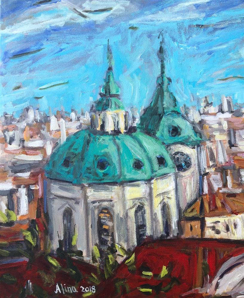 """Rooftops in Prague"" original fine art by Alina Vidulescu"