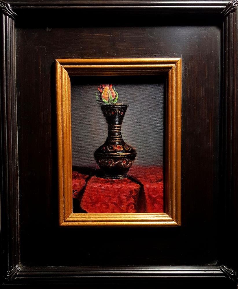 """Black vase with yellow rose"" original fine art by Natalia Clarke"