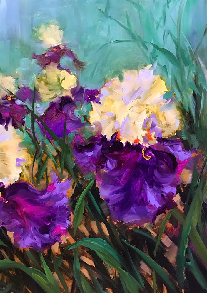 """Jungle Love Iris Garden"" original fine art by Nancy Medina"
