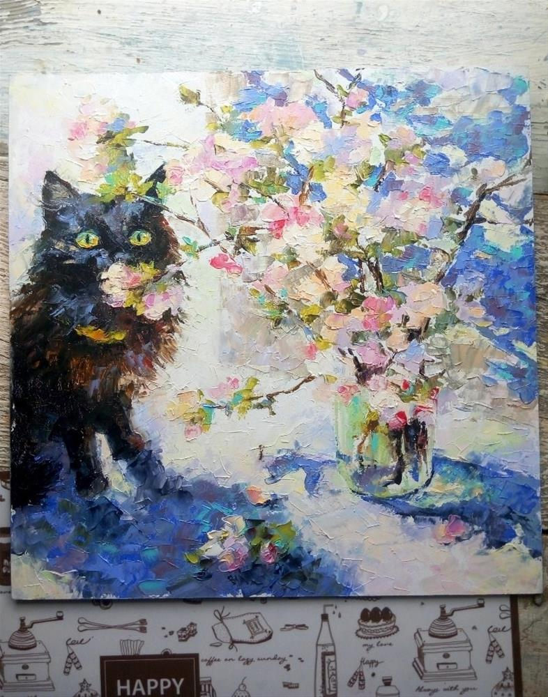 """Black Cat and Blossoming Apple"" original fine art by Valerie Lazareva"