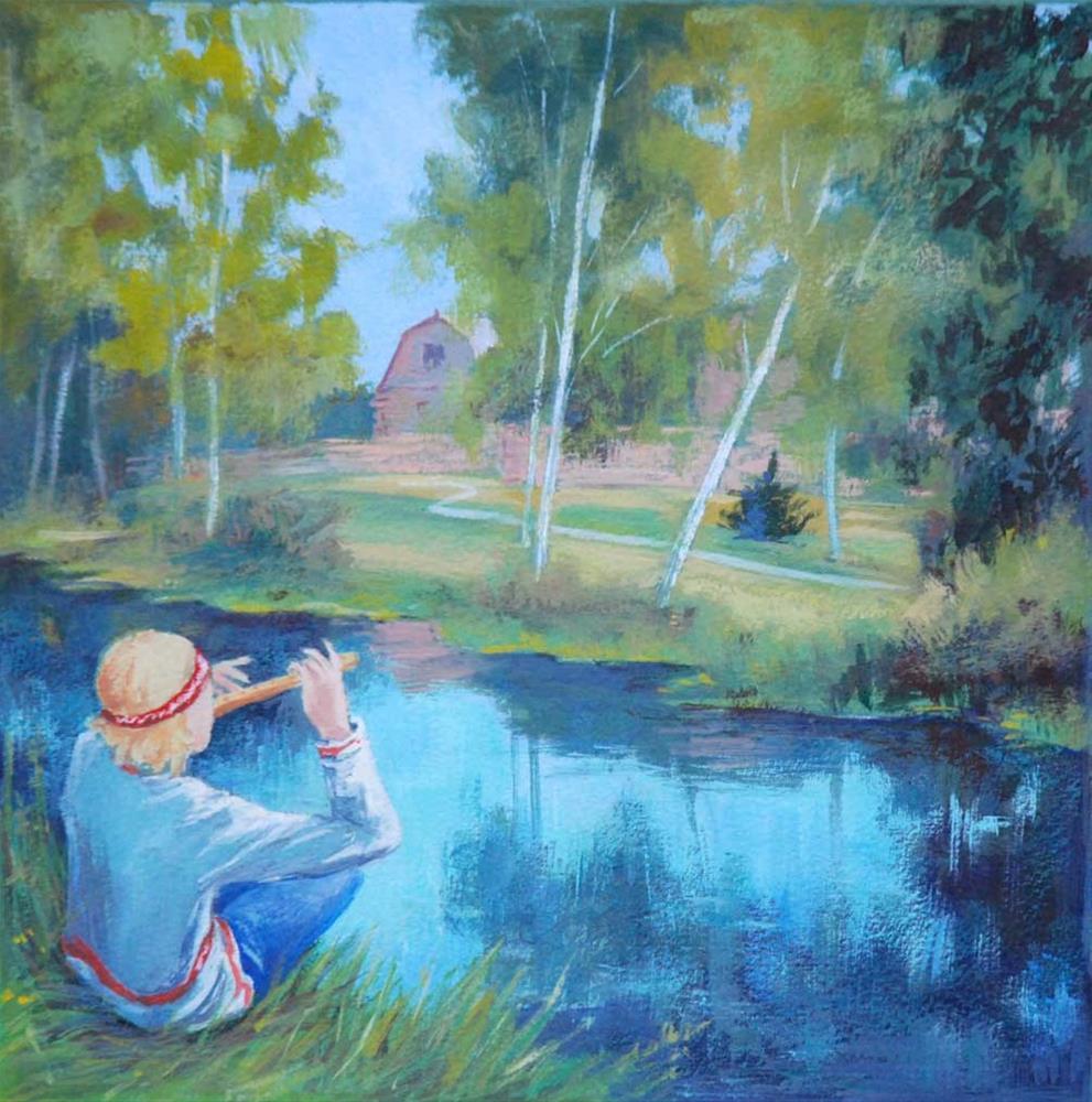 """Lel and the Magic Flute"" original fine art by Olga Touboltseva-Lefort"