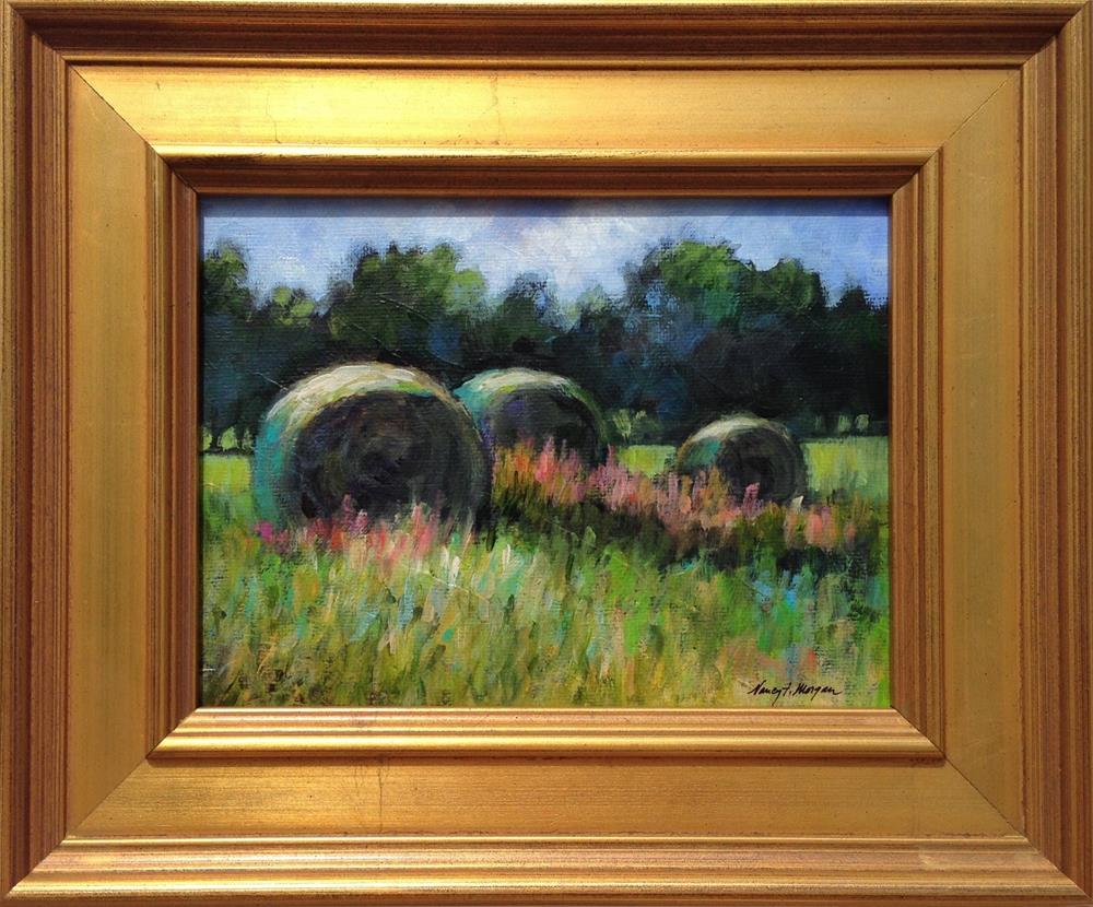 """Hay Bales"" original fine art by Nancy F. Morgan"