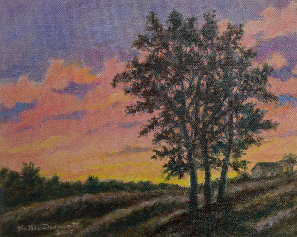 """""""Vineyard Sundown"""" original fine art by Kathleen McDermott"""