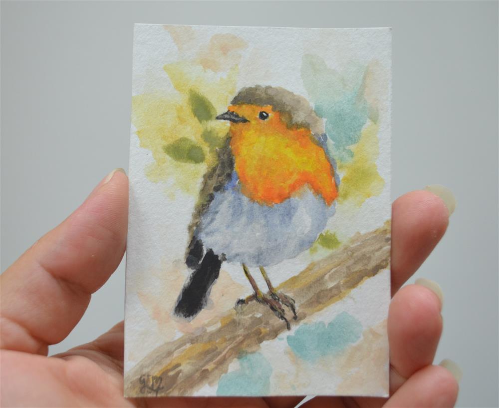 """Robin Watercolor ACEO"" original fine art by Gloria Ester"